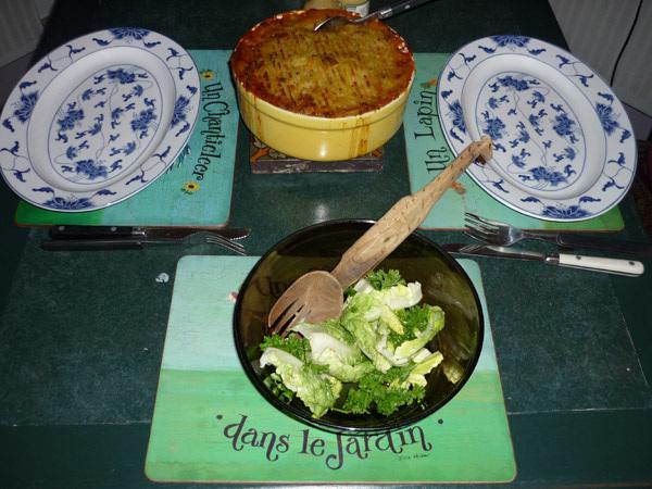 Pie, plates, salad...