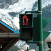 Canadian stop sign for pedestrians in Banff