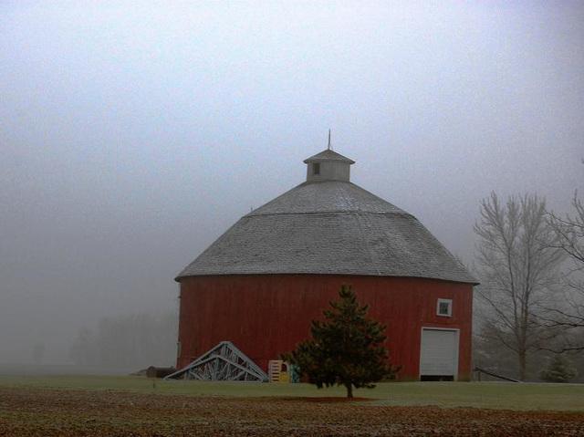Round Barn in the Mist