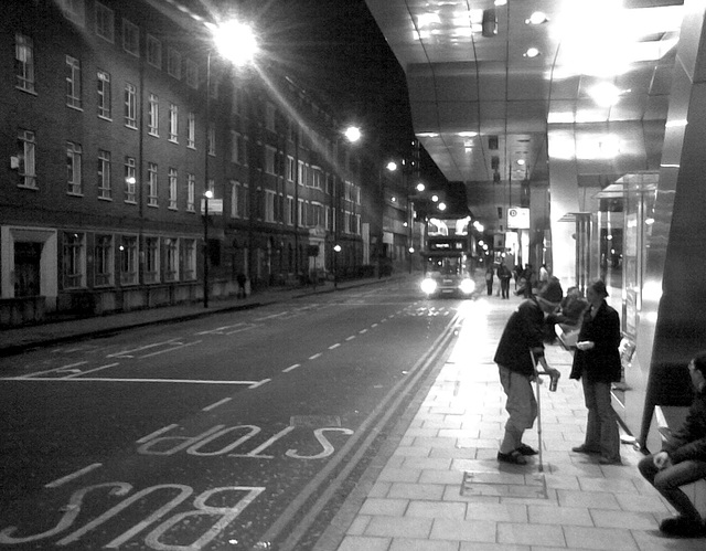 Vauxhall (London) bus station at night