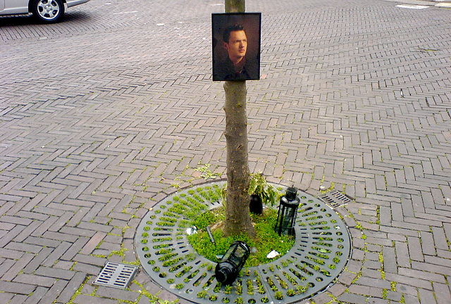 Mysterious shrine on the Station Square in Leiden