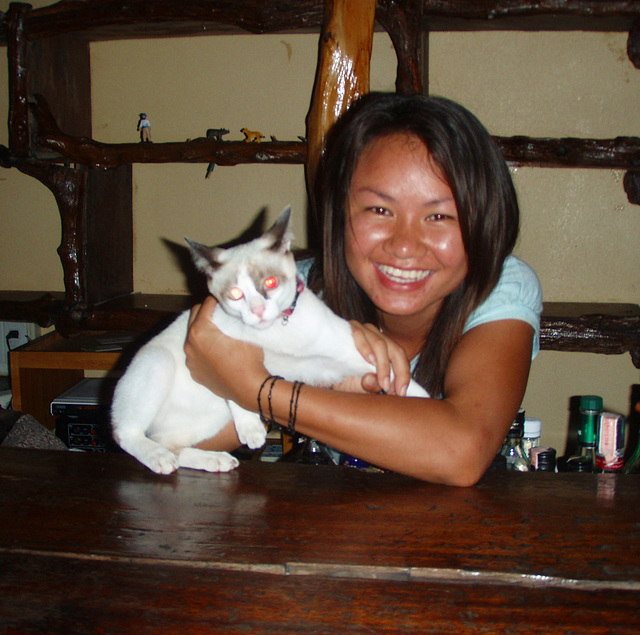 Nong smiling with kitty