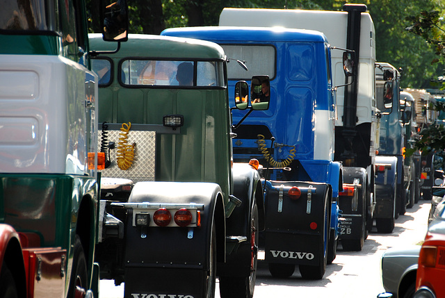 Oldtimer day at Ruinerwold: Trucks waiting to go back into Ruinerwold