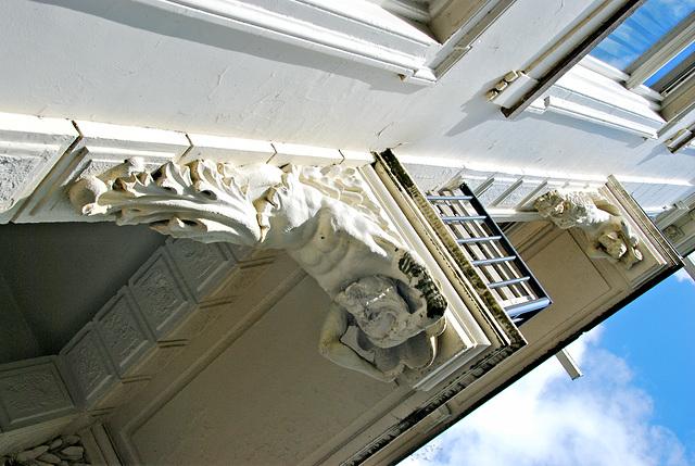 Hard men on balcony-supporting duty
