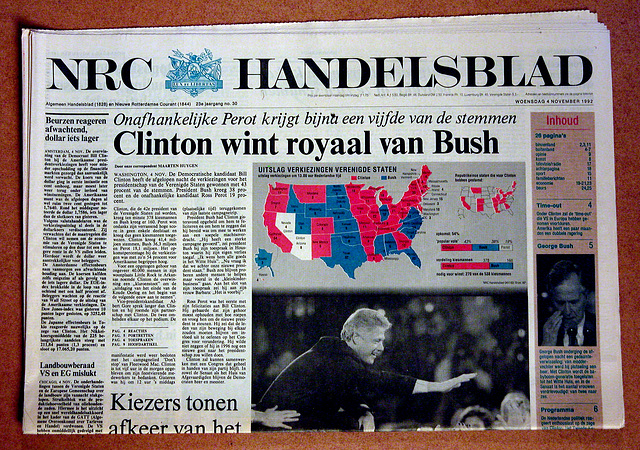 Recent history in newspapers: Clinton wins the presidential elections