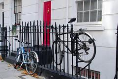 Bikes on railings