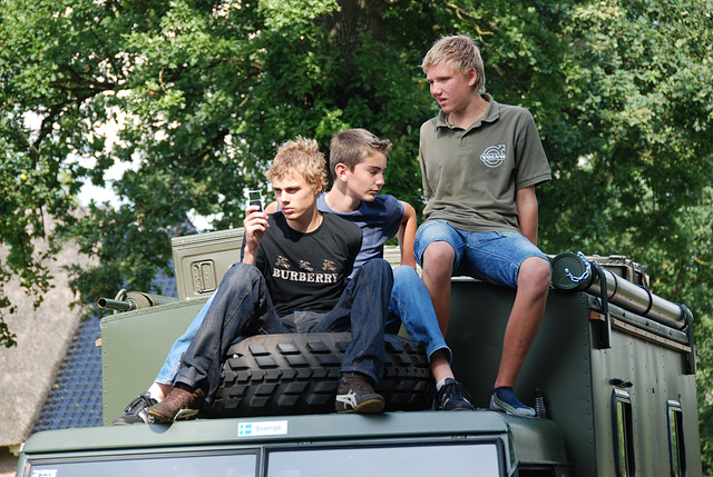 Oldtimer day at Ruinerwold: Sitting on top of the truck