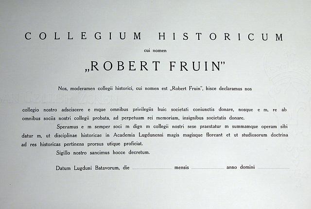 """The Leiden historical student fraternity """"Robert Fruin"""": empty bull"""