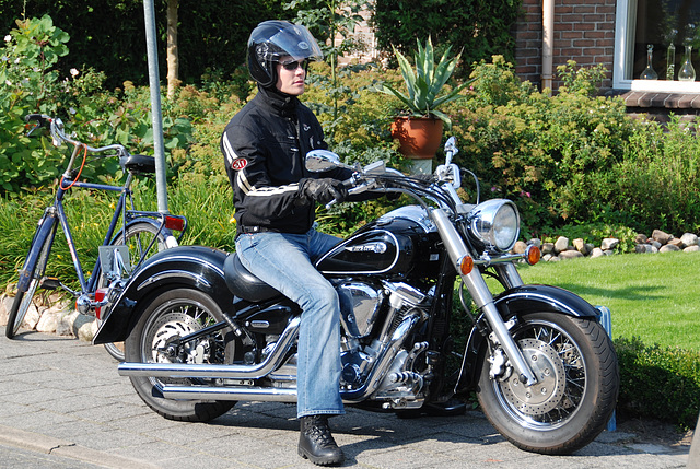 Oldtimer day at Ruinerwold: Motorcycle rider