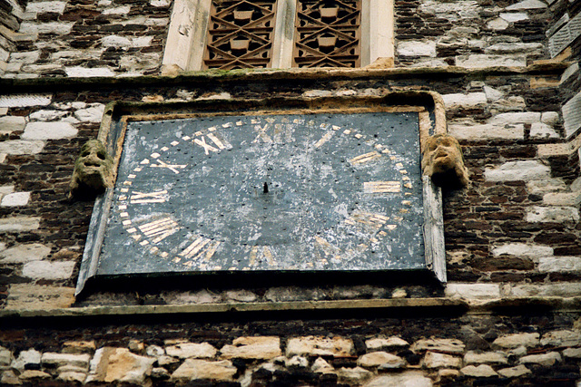 Clock face on the tower in Hornsey church yard, Haringey, North London