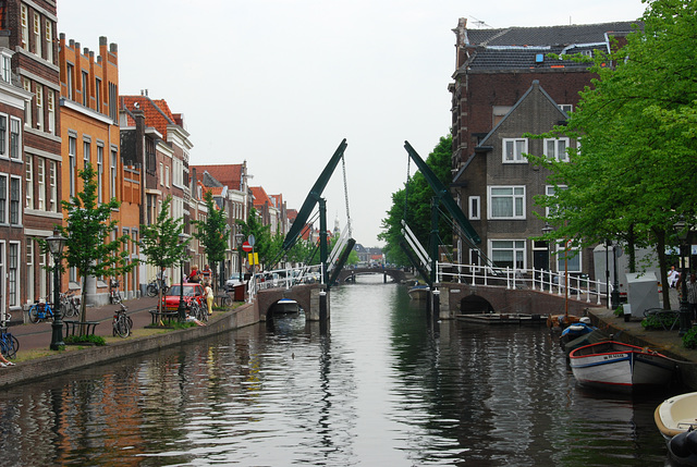 "A rare sight: the Church Bridge in Leiden in the ""open"" position"