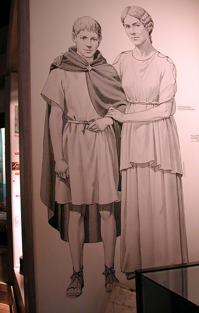 Roman boy and his mother in the Museum of London