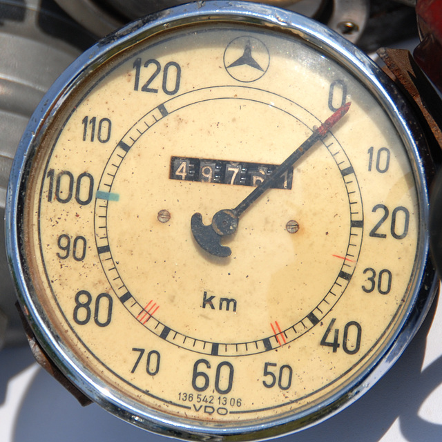 Oldtimer day at Ruinerwold: Speedometer of a Mercedes-Benz W136
