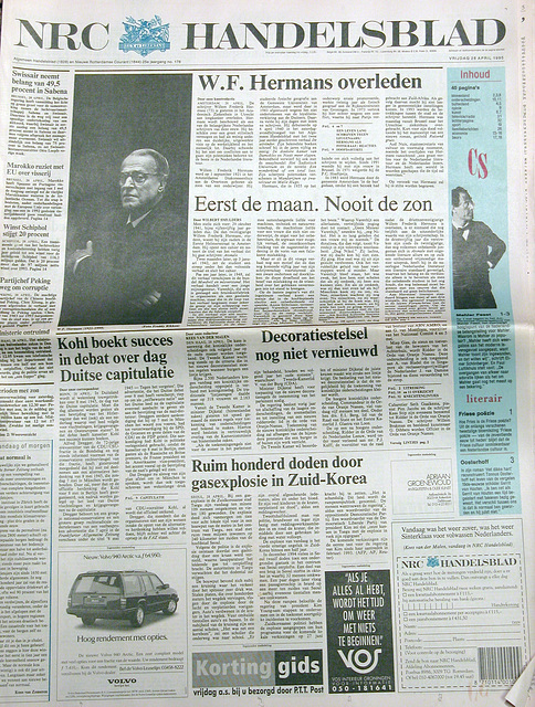 April 28, 1995: NRC Handelsblad announces the death of writer W.F. Hermans
