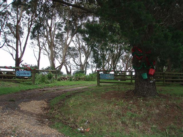 Christmassy farm entrance