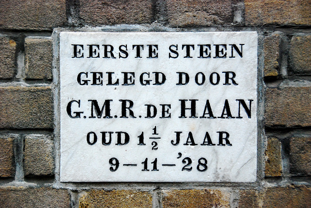 First stone laid on November 9, 1928 by G.M.R. de Haan, aged 1½
