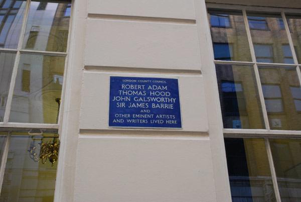 Robert Adam, Thomas Hood, John Galsworthy, Sir James Barrie and others