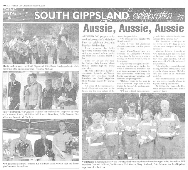 the New Australilans of South Gippsland