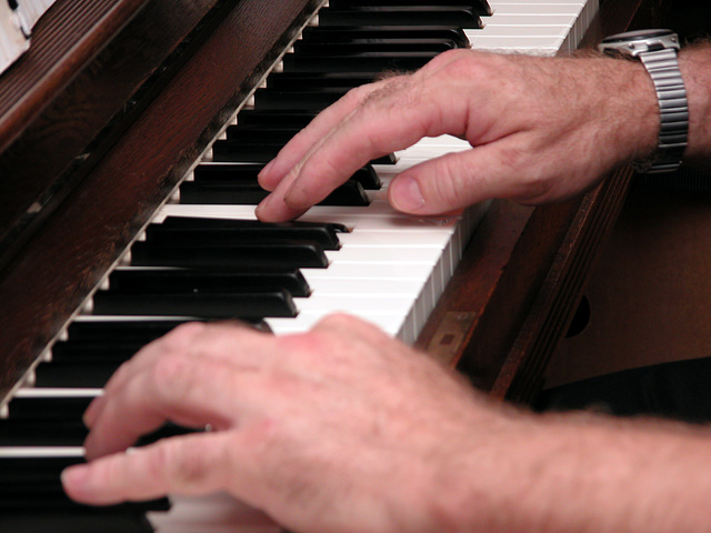 My brother-in-law playing the piano