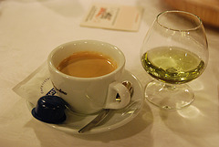 Coffee and Chartreuse at restaurant Amsterdam