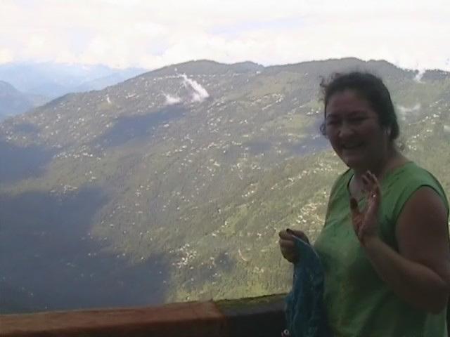 Sandy knitting in Darjeeling