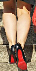 black heels, red soles (F)
