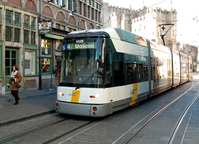 Tram to Moscou in Ghent (Belgium)