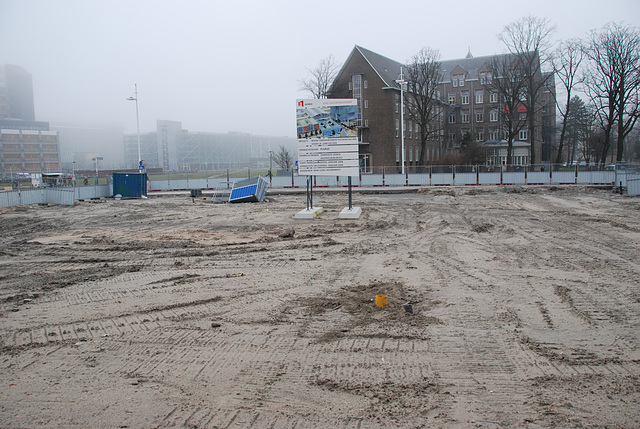 Cleared ground for a new underground bicycle parking
