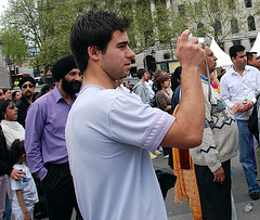 Taking pictures at Vaisakhi on Trafalgar Square