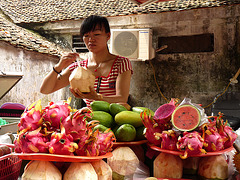 Selling Fruit near the One Pillar Pagoda