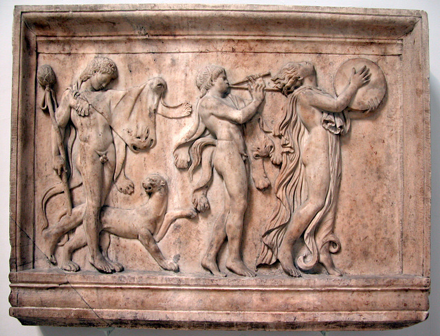 British Museum: marble relief of a maenad and two satyrs in a Dionysiac procession