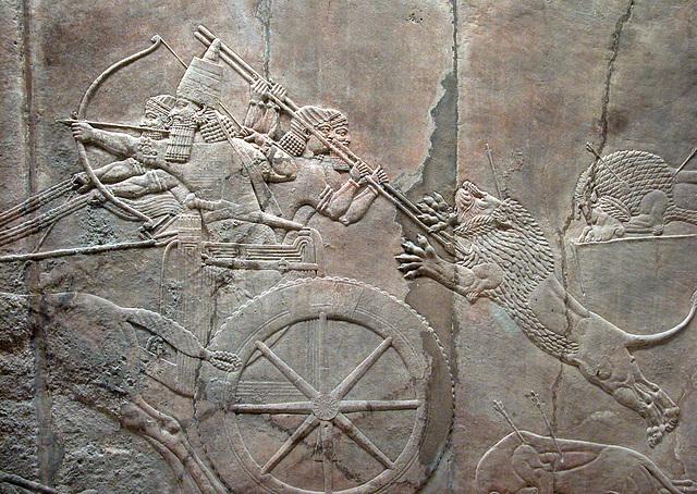 British Museum: Assyrian lion hunting