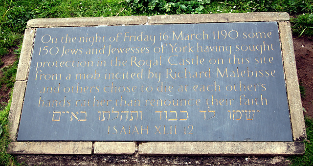 Inscription to remind people of the massacre of Jews