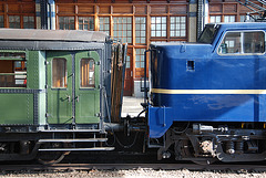 Celebration of the centenary of Haarlem Railway Station: old railway carriages and engine 1202