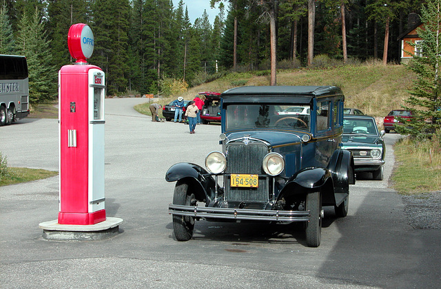 Canadian images: Old Chevrolet and Plymouth at an old Esso pump