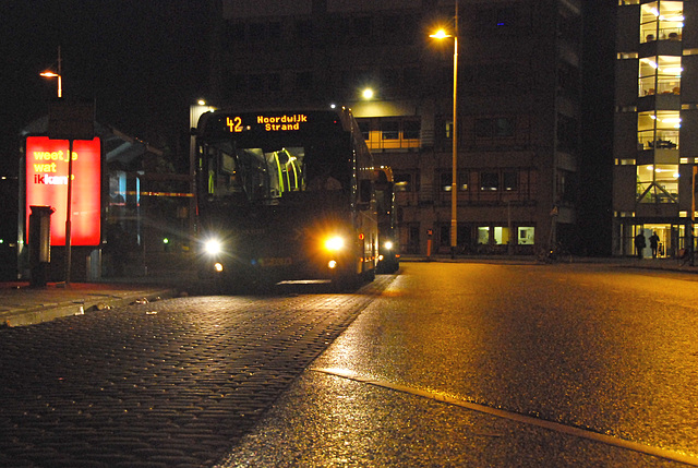 Number 42 bus at night