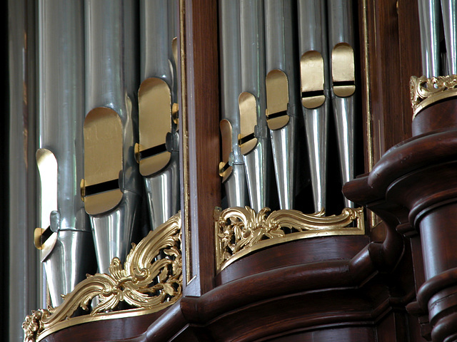 Detail of the organ of the Lokhorst Church in Leiden