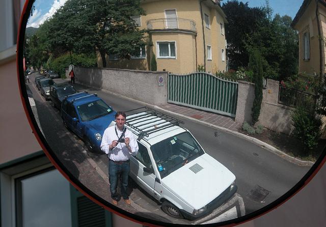 Holiday day 3: Me in a mirror in Bozen (Bolzano)