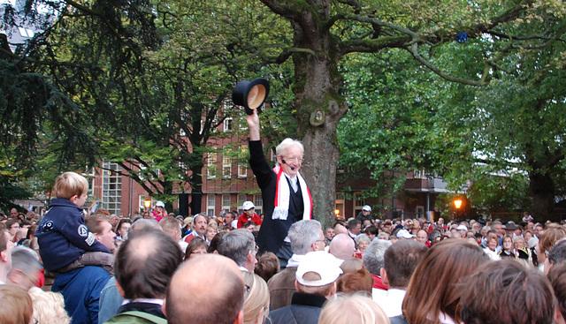 After the Reveille, more singing in the Van der Werff Park