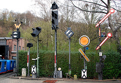 Railway signs at the railway museum Bochum-Dahlhausen
