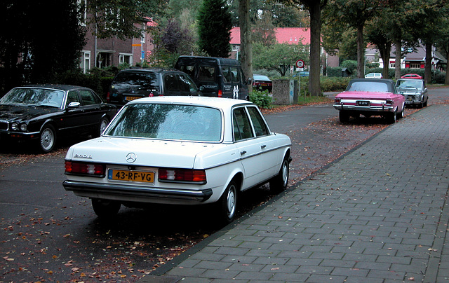 This morning: My white Merc, a pink Plymouth and a silver Alfa Romeo