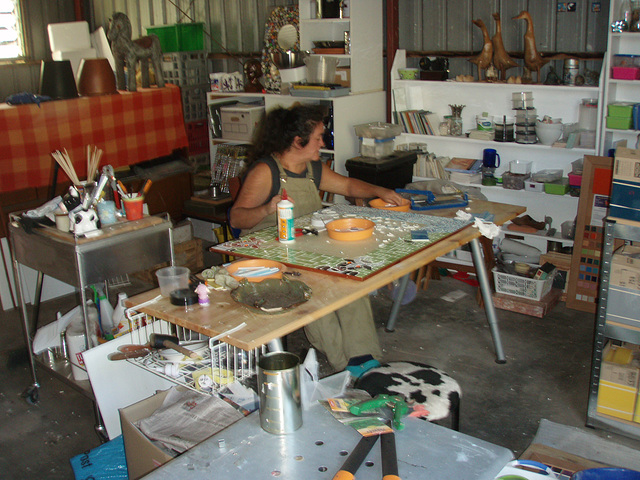 Sandy at work on mosaic mirror