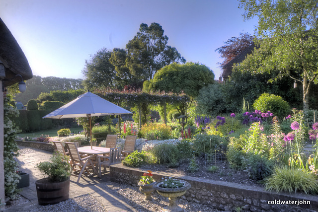 Stickland Farm garden on an early morning in May, Winterborne Stickland, Dorset
