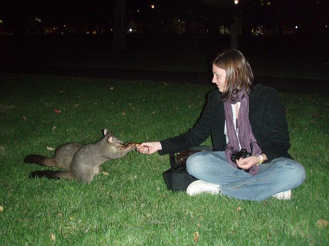 Emilie & possums in Treasury Gardens