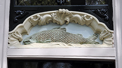 Ornament above a door of a salmon