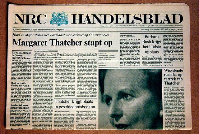 Old newspapers: November 22, 1990 – Margaret Thatcher resigns