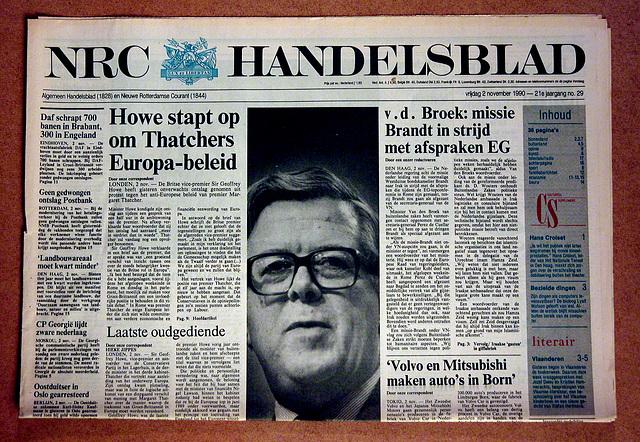 Old newspapers: November 2, 1990 – Geoffrey Howe resigns