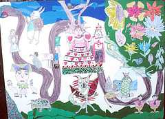 daughter's Lewis Carroll storybook collage (view large)