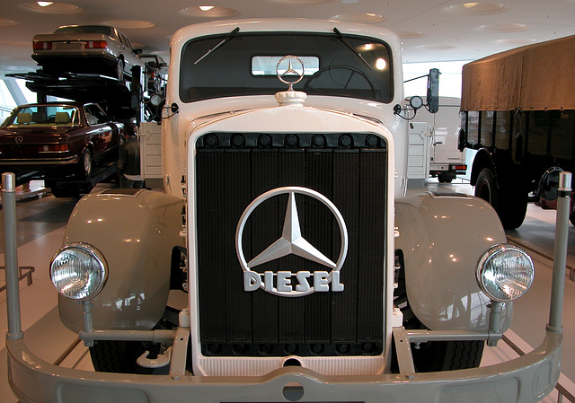 In the Mercedes Museum: Truck with 12 liter diesel engine