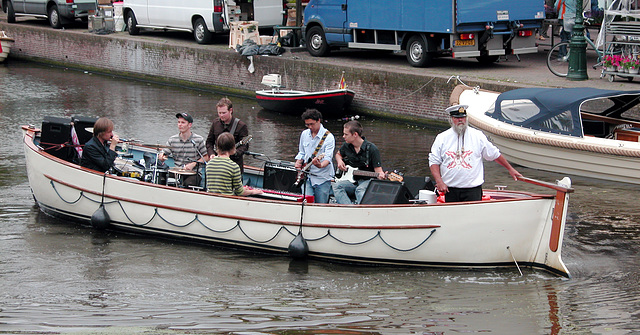 Making music in a boat